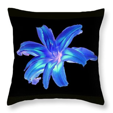 Blue Day Lily #2 Throw Pillow