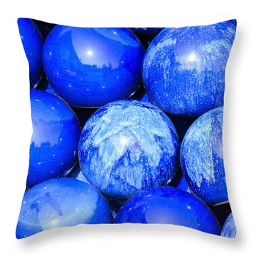 Blue Decorative Gems Throw Pillow by Tommytechno Sweden