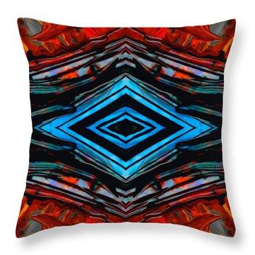 Blue Diamond Art By Sharon Cummings Throw Pillow by Sharon Cummings