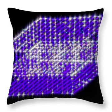 Throw Pillow featuring the mixed media Blue Diamond Grid by Carl Hunter