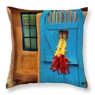 Blue Door And Peppers Throw Pillow by Jeffrey Kolker