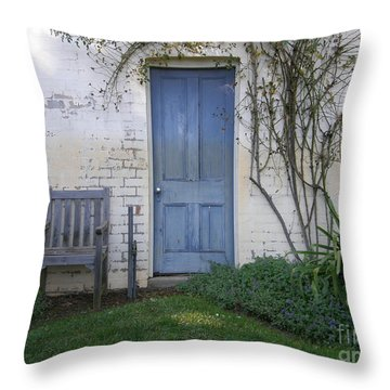 Blue Door Throw Pillow by Bev Conover