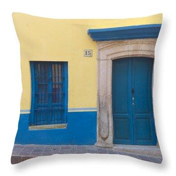 Blue Door Throw Pillow by Douglas J Fisher