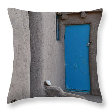 Throw Pillow featuring the photograph Blue Door Gray Walls by Nadalyn Larsen