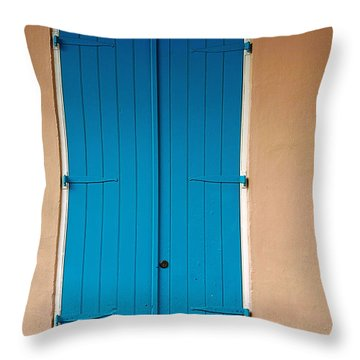 Blue Door In New Orleans Throw Pillow by Christine Till