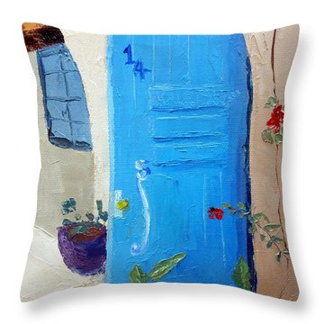 Blue Door Throw Pillow by Susan Woodward