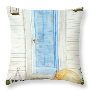 Blue Door With Pumpkin Throw Pillow