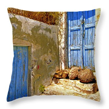 Blue Doors Of Santorini Throw Pillow