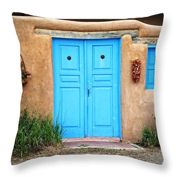 Blue Doors Of Taos Throw Pillow by Lucinda Walter