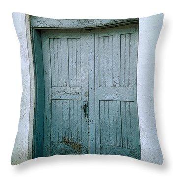 Blue Doors On Brewer Street Throw Pillow