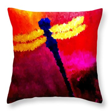 Throw Pillow featuring the painting Blue Dragonfly No 2 by Anita Lewis