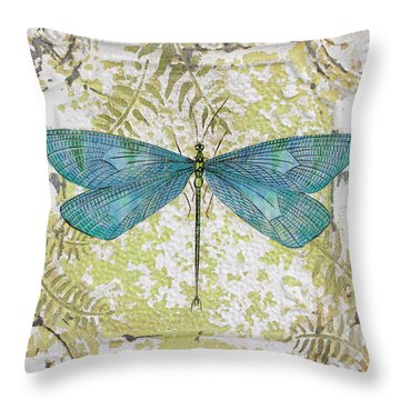 Blue Dragonfly On Vintage Tin Throw Pillow by Jean Plout