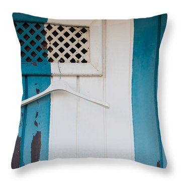 Blue Dressed Beach Throw Pillow by Piet Scholten