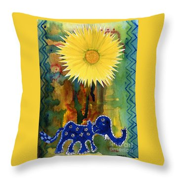 Throw Pillow featuring the painting Blue Elephant In The Rainforest by Mukta Gupta