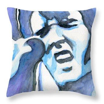 Blue Elvis Throw Pillow