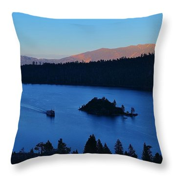 Blue Emerald Bay Lake Tahoe Throw Pillow