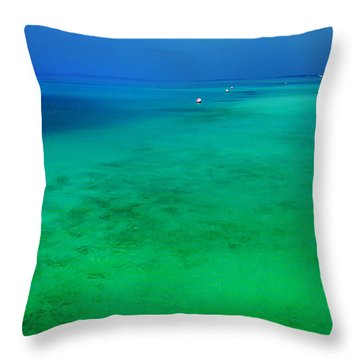 Blue Emerald. Peaceful Lagoon In Indian Ocean  Throw Pillow by Jenny Rainbow
