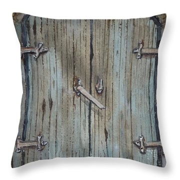 Throw Pillow featuring the painting Blue Entrance Door Has Stories by Kelly Mills