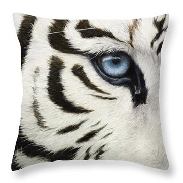 Blue Eye Throw Pillow by Lucie Bilodeau