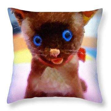 Throw Pillow featuring the painting Blue Eyed Kitty by Joan Reese