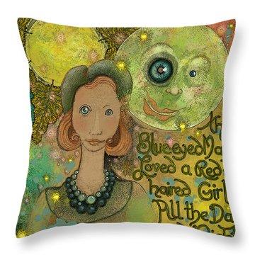 Blue-eyed Moon Throw Pillow