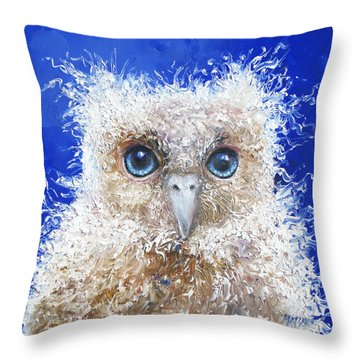 Blue Eyed Owl Painting Throw Pillow