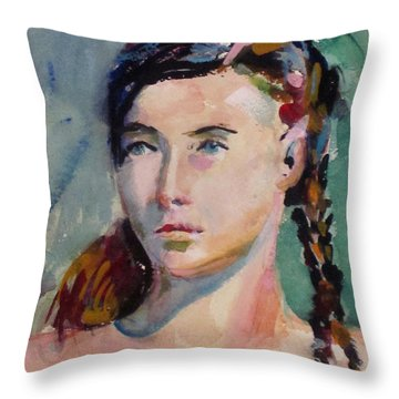 Blue Eyes And Braids Throw Pillow