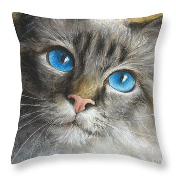 Blue Eyes Throw Pillow by Tobiasz Stefaniak