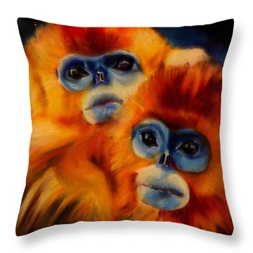Blue Faced Monkey Throw Pillow