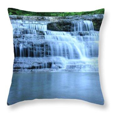 Blue Falls Throw Pillow by Melissa Petrey