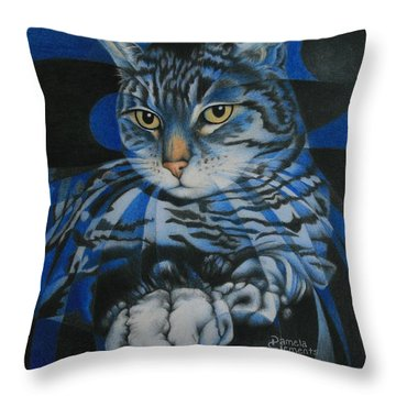 Throw Pillow featuring the painting Blue Feline Geometry by Pamela Clements