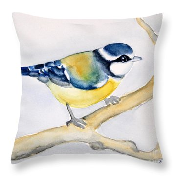 Blue Finch Throw Pillow by Inese Poga
