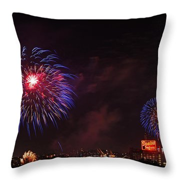 Blue Fireworks Over Domino Sugar Throw Pillow