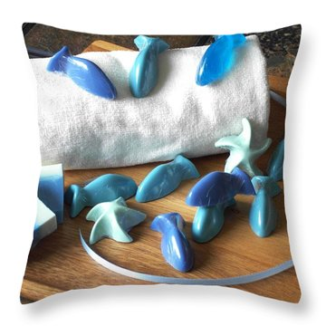 Blue Fish Mini Soap Throw Pillow by Anastasiya Malakhova
