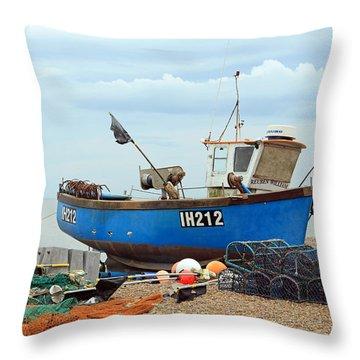 Blue Fishing Boat Throw Pillow