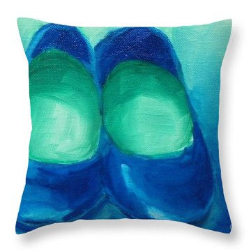 Throw Pillow featuring the painting Blue Flats by Marisela Mungia