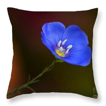 Blue Flax Blossom Throw Pillow