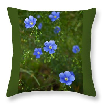 Blue Flax Throw Pillow