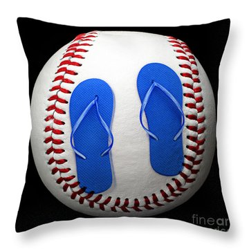 Blue Flip Flops Baseball Square Throw Pillow by Andee Design