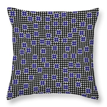 Blue Floating Squares Throw Pillow