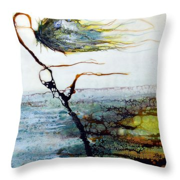 Blue Flower By Stream Throw Pillow