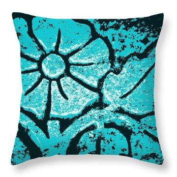 Blue Flower Throw Pillow by Chris Berry