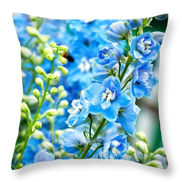 Blue Flowers Throw Pillow by Antony McAulay
