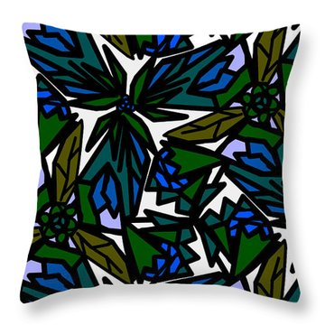 Throw Pillow featuring the digital art Blue Flowers by Elizabeth McTaggart