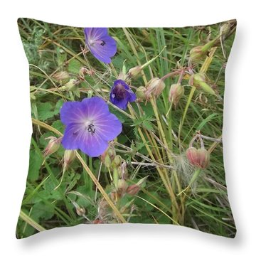 Blue Flowers Throw Pillow by John Williams