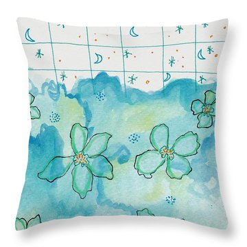 Blue Flowers Moon Stars Throw Pillow