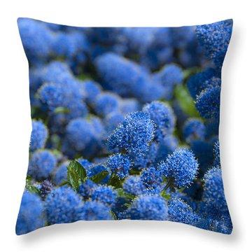 Blue Flowers Throw Pillow by Svetlana Sewell