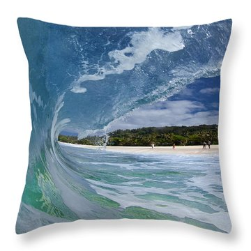 Blue Foam Throw Pillow by Sean Davey