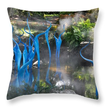 Blue Fog Throw Pillow