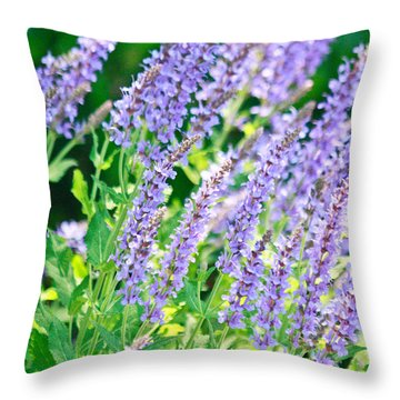 Blue Fortune Flower Spikes Throw Pillow